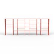 Bücherregal Rot, MDF, 415 cm x 156 cm x 34 cm