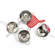 PowerTRC Metal Pots and Pans Kitchen Cookware Playset for Kids with Cooking Utensils Set