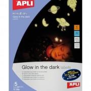 APLI Etiquetas que brillan en la oscuridad A4 5h