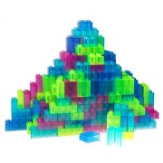 Premium Big Briks Clear Light Green, Clear Turquoise, Clear Magenta, Clear Blue Basic Builder Set #3 - 204 Pack - (Big LEGO DUPLO Compatible) - Large Pegs