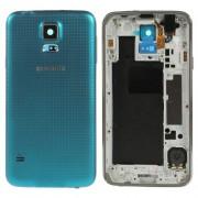 Carcasa Corp Mijloc Samsung SM-G900I Cu Capac Baterie Spate Originala Albastra