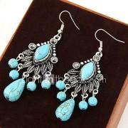 Druppel oorbellen Vintage Turkoois Legering Bladvorm Blauw Sieraden Voor Feest Dagelijks Causaal 1 paar
