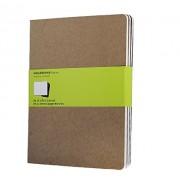 Moleskine Set de 3 cahiers pages blanches Très grand format Couverture souple 19 x 25 cm Couleur kraft