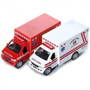 KINSFUN DISPLAY RESCUE TEAM 5 Ambulance and fire department truck 2pc set