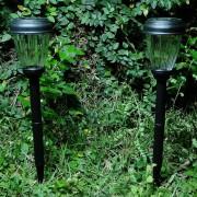 Luminária Solar Jardim 2 peças Preto PVC 1664 em Led Branco - EC23231