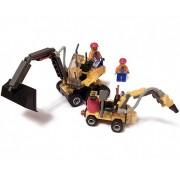 Jucarie tip lego Buldozer, Excavator si Muncitori City Work 6092