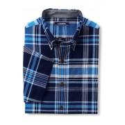 ランズエンド LANDS' END メンズ・インド・マドラス・シャツ/半袖(ディープシープラッド)