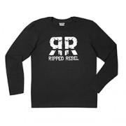 RIPPED REBEL MEN'S LONG SLEEVE CREW NECK (RR Black XL)