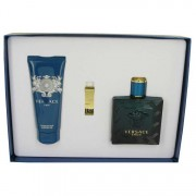 Versace Eros Eau De Toilette Spray 3.4 oz / 100.55 mL + Shower Gel 3.4 oz / 100.55 mL + Gold Money Clip Gift Set Men's Fragrance