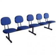 Longarina Secretária 5 Lugares em Tecido Azul Pethiflex