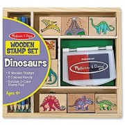 Melissa & Doug Wooden Stamp Set: Dinosaurs - 8 Stamps 5 Colored Pencils 2-Color Stamp Pad