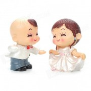 Lindo estilo West Couple Dancing Display Toy Doll - blanco + gris