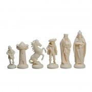 Piese de șah figurine medievale negru/crem (fără contragreutate)
