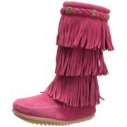 Minnetonka - 3-Layer Fringe, Polacchine unisex bambino, color Rosa (Bright Pink), talla 25/26 EU