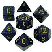 Custom & Unique {Standard Medium} 7 Ct Pack Set Of [D4, D6, D8, D10, D12, D20] Assorted Polyhedral Shapes Opaque Playing & Game Dice W/ Splatter Pearl Design [Blue, Black, Red & Yellow] W/ Dice Box