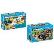 Playmobil Wild Life Playset Bundle with Adventure Pickup Truck and Firefighting Seaplane