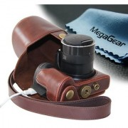 MegaGear Ever Ready Protective Leather Camera Case Bag for Canon Powershot Sx510 HS Canon Powershot SX520 HS (Dark Brown)