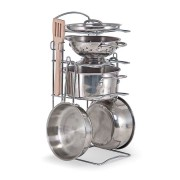 Melissa & Doug Stainless Steel Pots & Pans Play Set - Silver