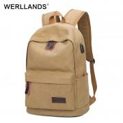 WERLLANDS Backpack USB Charging for Laptop Backpacks Waterproof Notebook Rucksacks Brown Canvas Daypack Men Women teen backpack