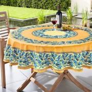 Abwaschbare Oliven Tischwäsche, 160 cm Durchmesser, Gelb/Blau
