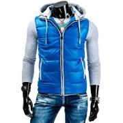 Pánská prošívaná zateplená vesta s odnímatelnou kapucí modrá - M