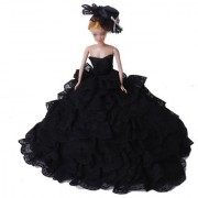 Beautiful Black Wedding Dress with Layers of Ruffles Details for Barbie Doll