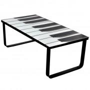 vidaXL Sklenený konferenčný stolík s potlačou kláves
