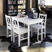 vidaXL Комплект за хранене от дърво с 1 маса и 4 стола, цвят бял