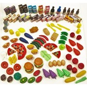 Kids Best Choice 128 Piece Pretend Food Set – Huge Variety of Realistic-Looking Pretend Play Foods. Top Quality Grocery Cart Toys for Girls and Boys ages 2 & up, Storage Bag Included