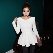 Mulheres Blusa Formal Simples Todas as Estações,Sólido Branco / Preto / Laranja Outros Decote V Manga Longa Média