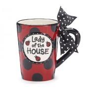 Ladybug Lady Of The House Ceramic Taza With Bow Ceramic Taza