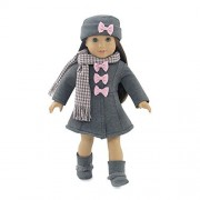 18 Inch Doll Clothes | Lovely Grey and Pink Coat Outfit, Includes Incredible Matching Hat and Boots and Perfect Hounds Tooth Scarf | Fits American Girl Dolls by Emily Rose Doll Clothes