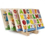 Professor Poplar's Puzzle Bundle: Alphabet Numbers Barnyard Helpers and People Movers Wooden Puzzles with Natural Wood Display Stand