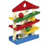 Детски дървен ролбан - Къща с 3 топчета, Simba Eichhorn, 041500