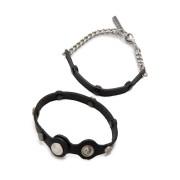 【60%OFF】レザー スタッズブレスレット& レザー チェーンブレスレット セット ブラック uni ファッション > 腕時計~~レディース 腕時計
