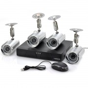 Systeme de surveillance DVR - 4 cameras CCTV exterieures / CCD 1/3 pouce SONY couleur / 420 lignes TV / H.264