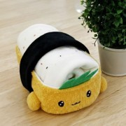 Cottonfood Travel Rug in Tofu Sushi plush case doll kawaii cute knee Blanket by PLUSH TOY