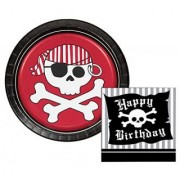 Pirate Parrty Red Happy Birthday Themed Dessert Napkins & Plates Party Kit for 8