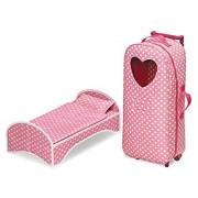 Badger Basket 3-in-1 Doll Carrier with Rocking Bed & Bedding (Fits American Girl Dolls) Pink Polka Dot/White
