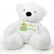 White 5 feet Big Teddy Bear wearing a First Happy Birthday T-shirt