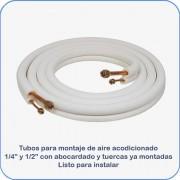 """Tubos montaje aire acondicionado 1/4"""" y 1/2"""" 3m abocardado con tuercas"""
