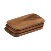 Ensemble de 3 planches á découper pratique au petit déjeuner, angulaire ,couleur acacia -22x15 cm