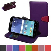 Galaxy J2 Case Mama Mouth [Stand View] Premium PU Leather [Wallet Case] With Built-in Media Stand ID Slots and Inner Pocket Cover For Samsung Galaxy J2 J200 2015 Purple