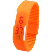 DA MY SHOP Jelly Slim Men Women Unisex Orange LED Digital Casual Bracelet Band Led Watch