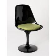 Replica Eero Saarinen Tulip Chair-Black Fibreglass/Lime Green Cushion