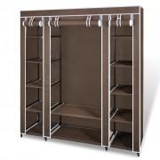 vidaXL Látková šatní skříň s přihrádkami a tyčemi 45 x 150 x176 cm hnědá
