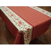 Mantel Antimanchas de Poliéster - Modelo FLORES ROJAS - Rojo