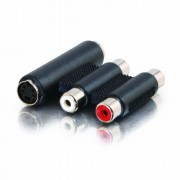 C2G Stereo Audio/S-Video Coupler - Adaptador para cable (2 x RCA + S-Video, 2 x RCA + S-Video, Negro, Hembra/hembra)