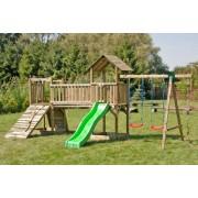 Steiner Shopping (ZA) Kinder Spielturm mit zwei Türmen, Rutsche, Doppel-Schaukel, Kletterseil