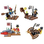 Pirates Raid Blocks 4 Individual Building Brick Playsets with 144 pc Toy Bricks Included - 4 Separate Lego Compatible Br